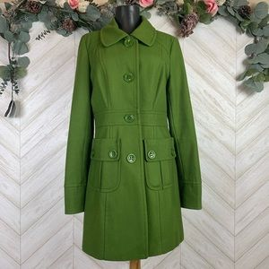 Tulle Olive Green Wool Blend Pea Coat in Large